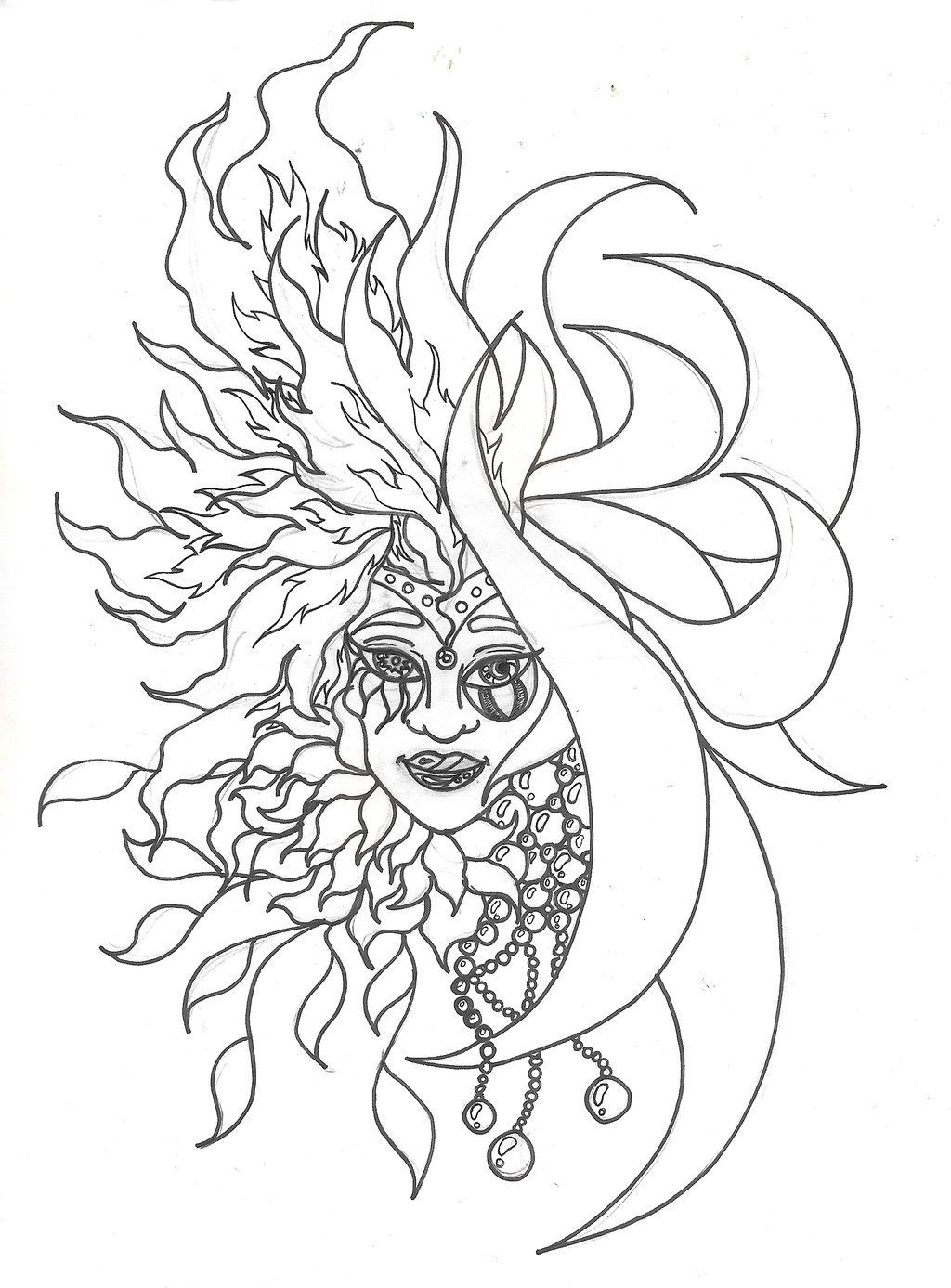 sun and moon coloring page  moon coloring pages sun