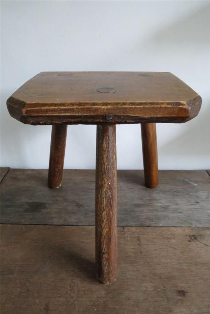 Milking Bench Part - 19: Rustic Vintage French Wooden Farm Foot Milking Stool