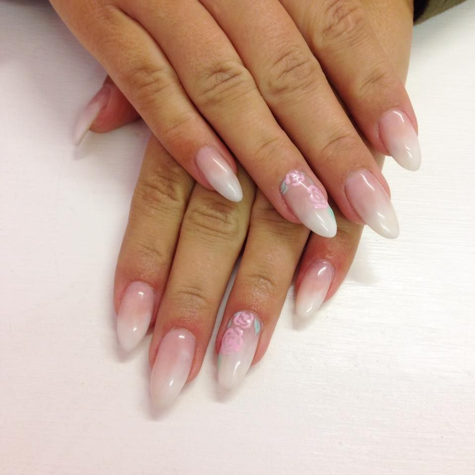 Pink and white fade baby boomer almond acrylic nails with pretty ...