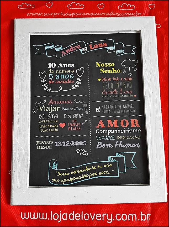 Meu Chalkboard Personalizado Presente 1ano De Namoro Dia Dos