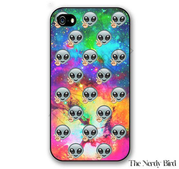 Alien Emoji On A Galaxy Background Iphone 4 5 5c By Thenerdybird2 Emoji Phone Cases Alien Emoji Emoji