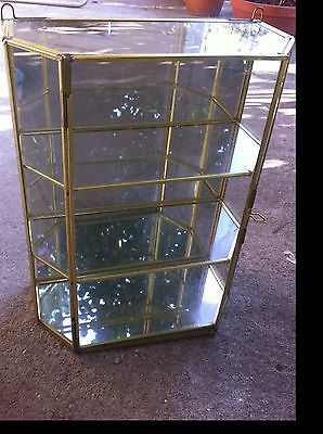 Vintage Brass Glass Table Top Wall Curio Cabinet Display