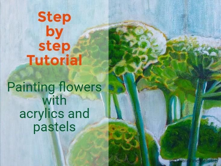 Green Mums Acrylic And Mixed Media Flower Painting Tutorial On ARTiful Demos By Sandrine Pelissier