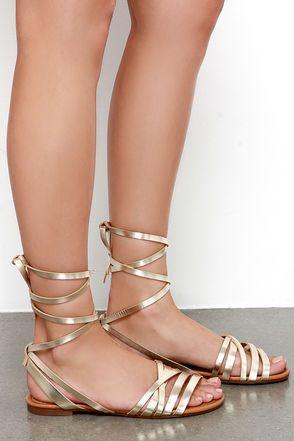 30807ca045800d Cute Gold Sandals - Leg Wrap Sandals - Flat Sandals -  21.00