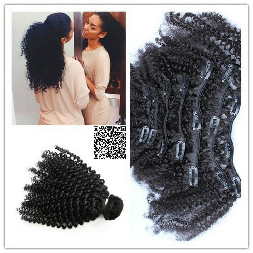 Afro Kinky Curly Clip In Human Hair Extensions 9pcsset Natural