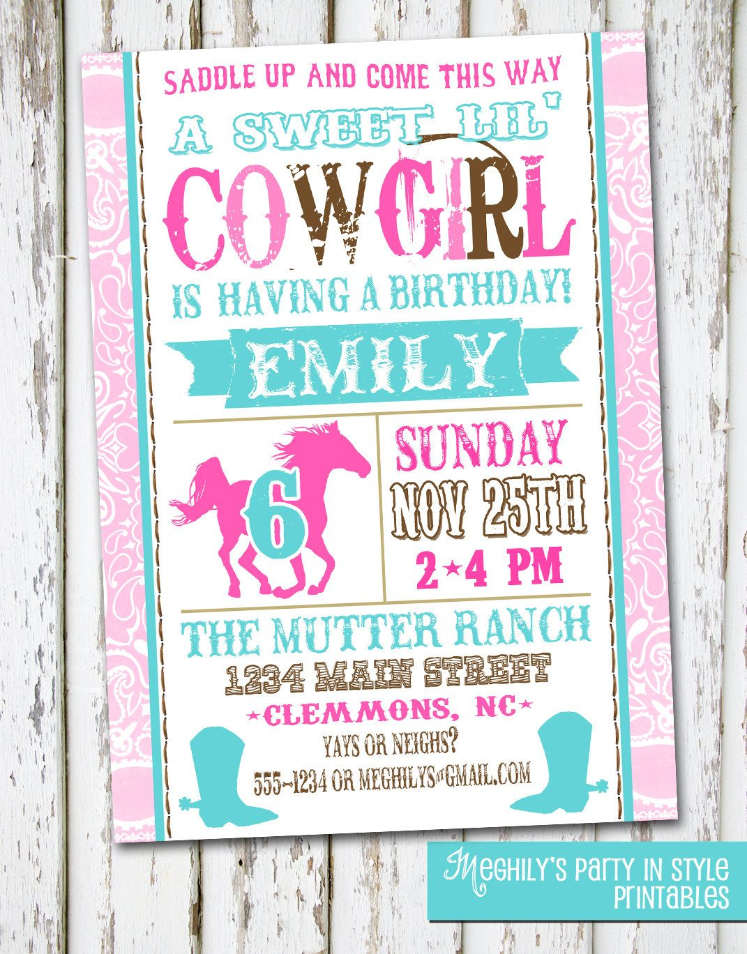 Western Cowgirl Birthday Invitation By Meghilys On Etsy 800