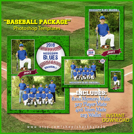 2020 Baseball Template Package For Photoshop Includes 8x10 Memory Mate 5x7 Player Frame 4x6 Team Mate And 2x3 Wallet Templates Easy Use Baseball Card Template Card Templates Templates