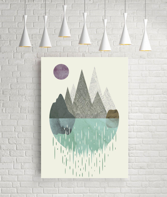 Waterfall, surreal art, artwork, abstract watercolor, modern decor, surreal, wall art, prints, home art, minimalist print, geometric, giclee by FLATOWL on Etsy https://www.etsy.com/listing/257002130/waterfall-surreal-art-artwork-abstract