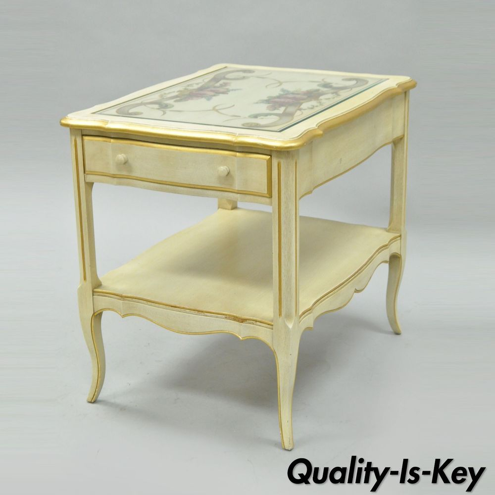 Vintage French Country Provincial Style Floral Painted Cream 1 Drawer End Table French Vintage End Tables French Country