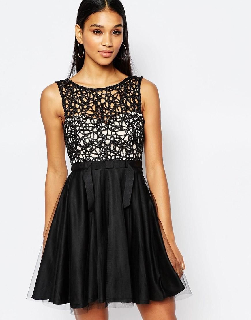 Lipsy | Lipsy Cutwork Lace Mini Prom Dress With Tulle Skirt at ASOS ...