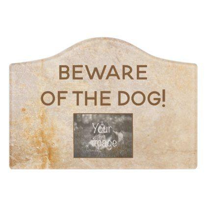 Vintage Design With Photo Beware Of The Dog Door Sign Door Signs