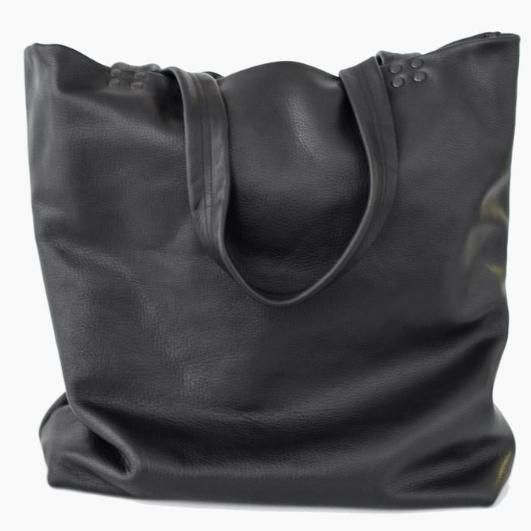 Sophisticated oversized black leather tote