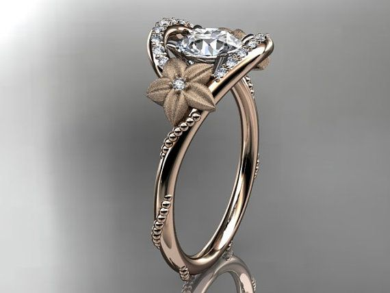 14kt Rose Gold Diamond Unique Engagement By Anjaysdesigns On Etsy 1355 00