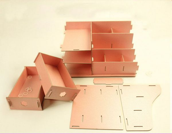 Cardboard Storage Box Decorative Diy Makeup Organizer Cardboard Pink Diy Cardboard Storage Box Desk