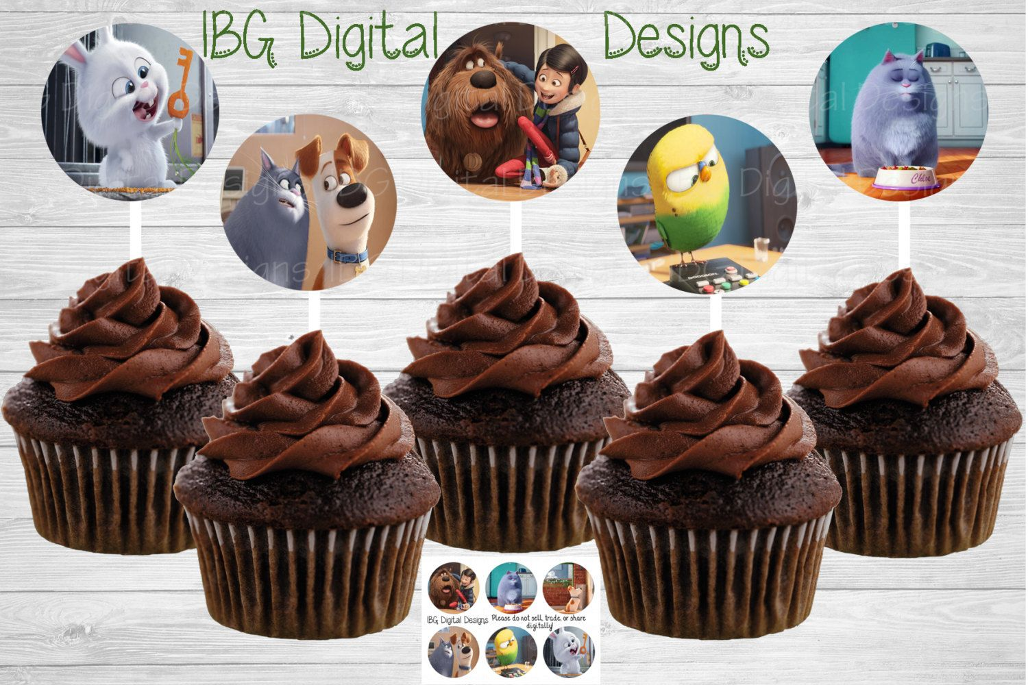 Pets cup cake toppers image sheet || print at home || Digital Download by IBGDigitalDesigns on Etsy
