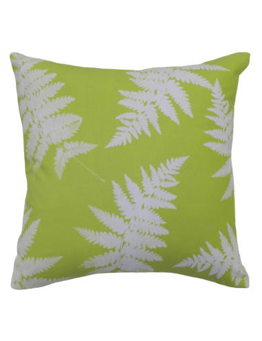 This attractive square cushion from the Linen House Vintage Kiwiana range is made of heavy cotton canvas printed with opaque native ferns, overlaid on a refreshing light green base.