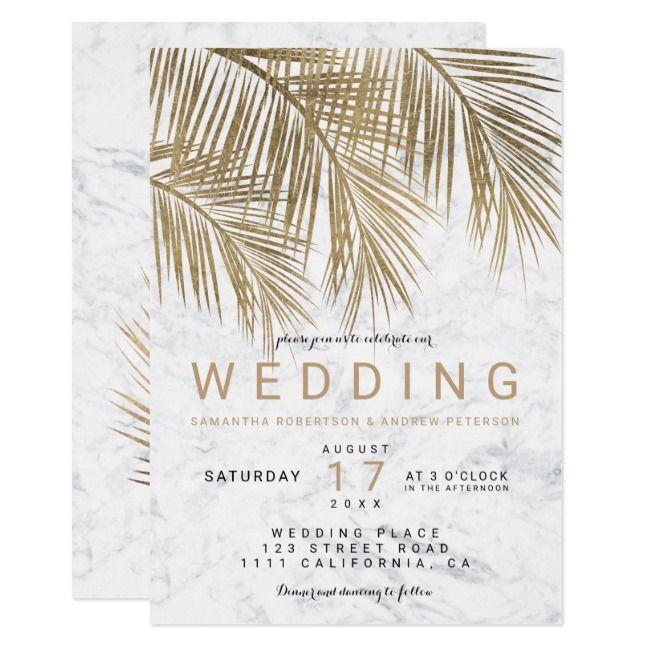 Modern faux gold palm tree elegant marble wedding invitation | Zazzle.com