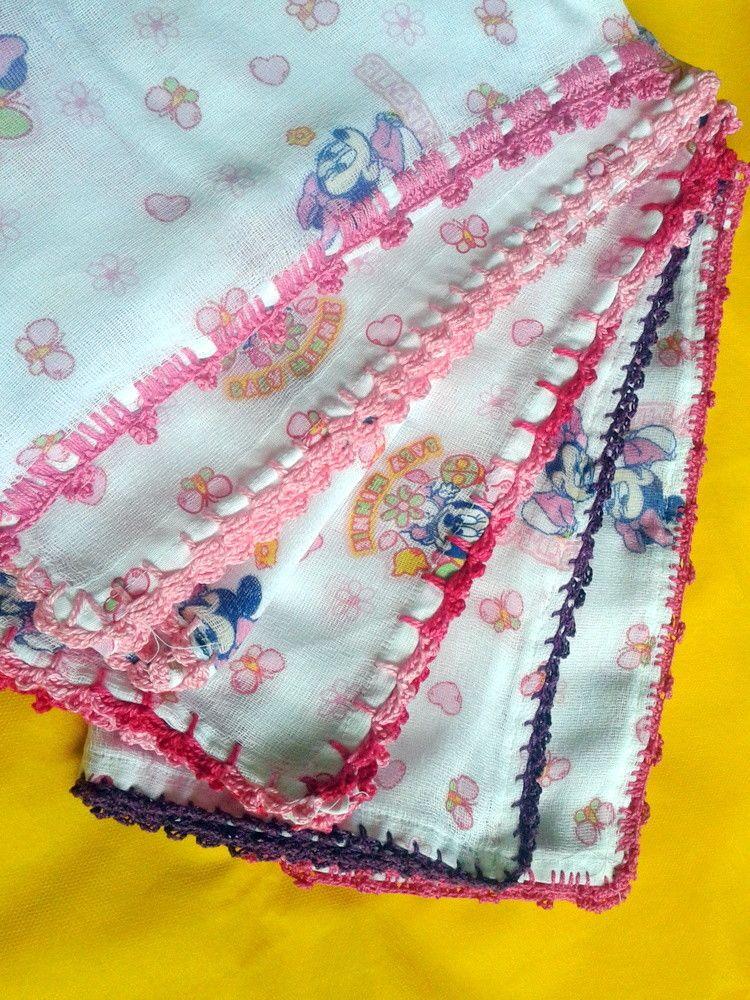 Fralda De Tecido Com Bico De Croche Com Imagens Bicos De