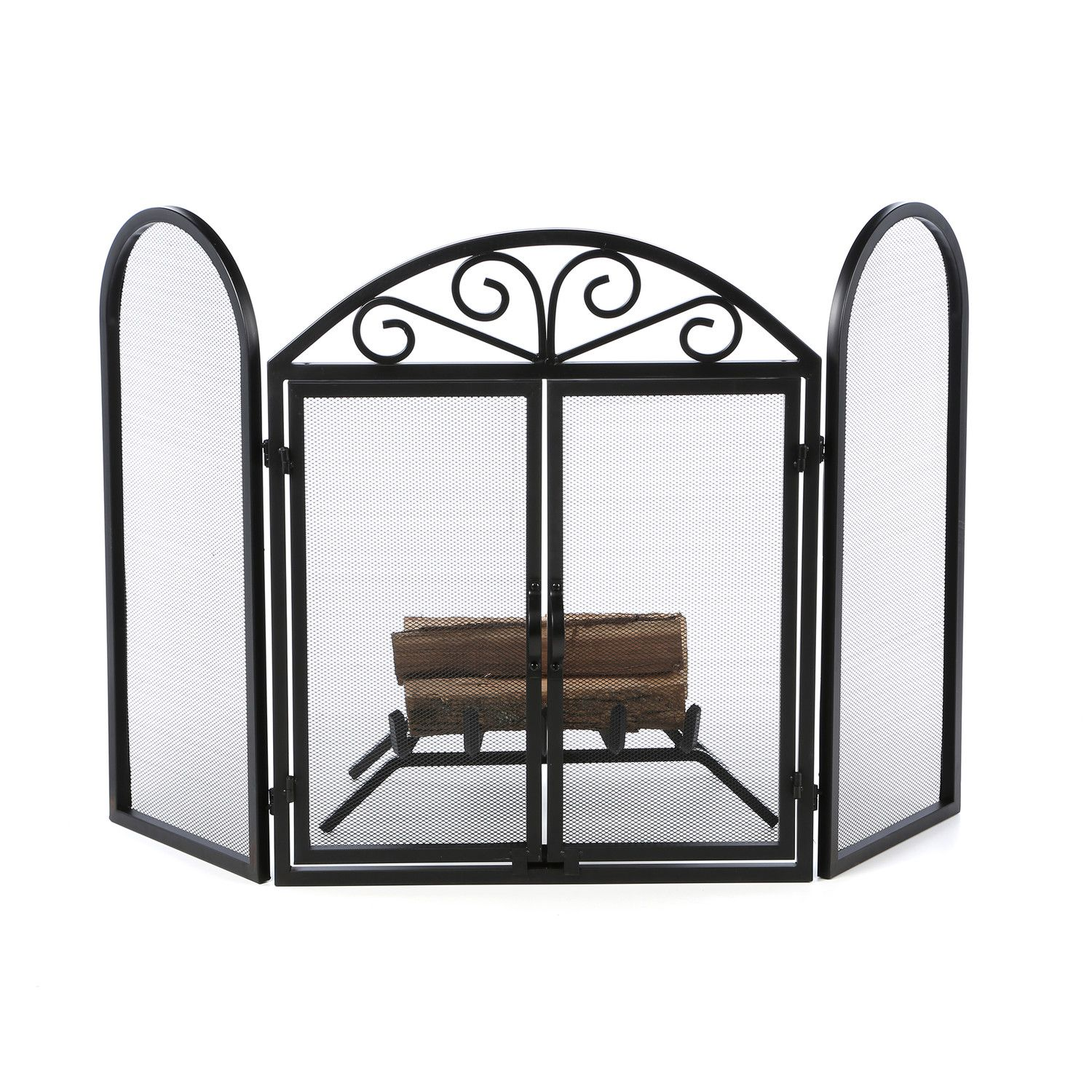 uniflame corporation 3 panel wrought iron fireplace screen with