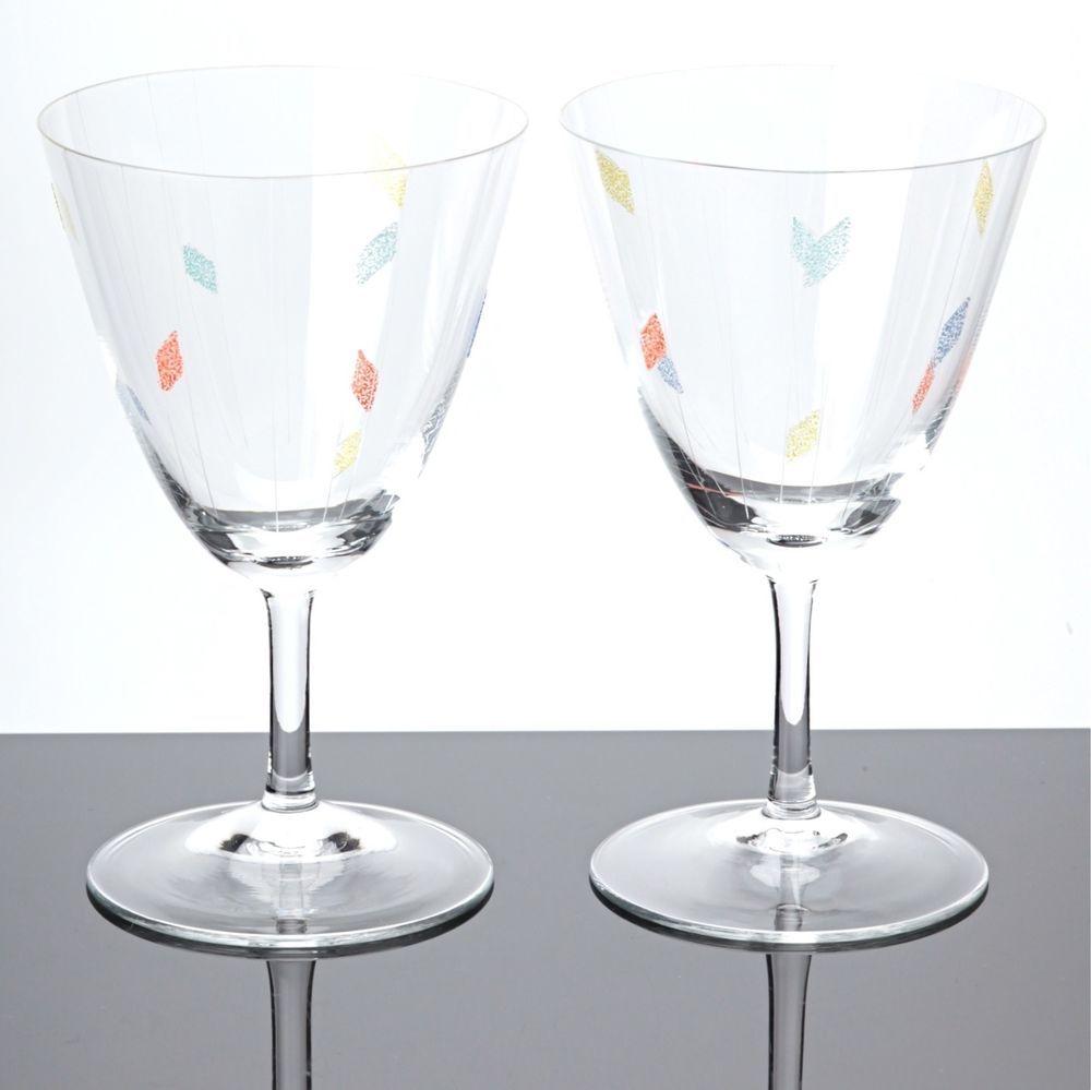 Weingläser Rot 2 weingläser keil deko gelb rot blau vintage 50er jahre glas