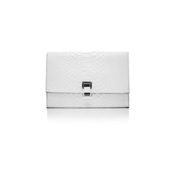 Proenza Schouler Matte Python Small Lunch Bag (92.015 RUB) via Polyvore featuring bags, handbags, proenza schouler, white bags, proenza schouler bag, flap purse и white handbags