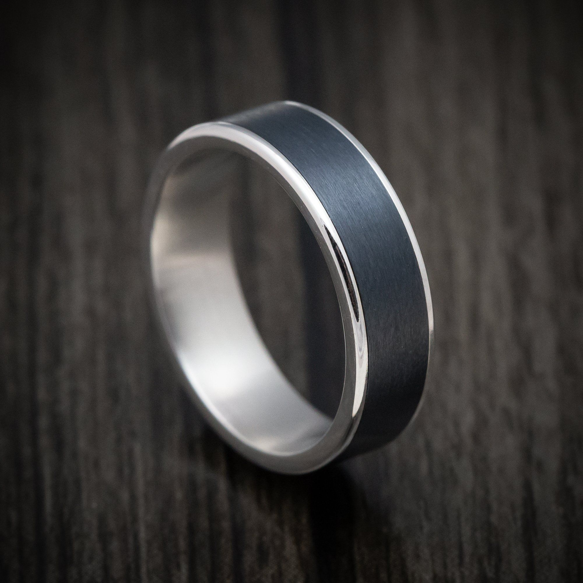 14k White Gold And Black Titanium Mens Ring Titanium Rings For Men Black Titanium Ring Men Rings For Men