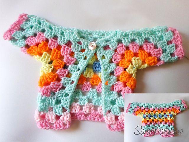 Sweet one piece baby jacket: free #crochet pattern by Sara Palacios ...