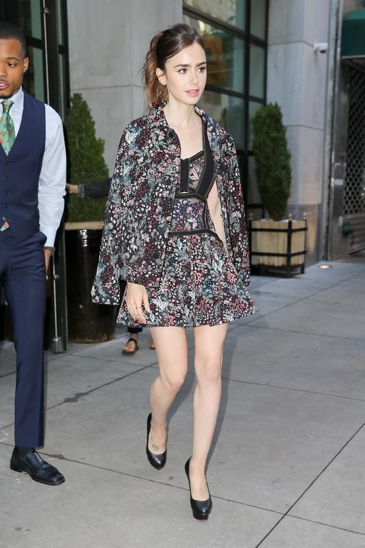 e786b19c4b7e Lily Collins wearing Self-Portrait Floral Jacquard Mini Dress, Self-Portrait  Floral Jacquard Utility Jacket and Charlotte Olympia Dolly Pumps