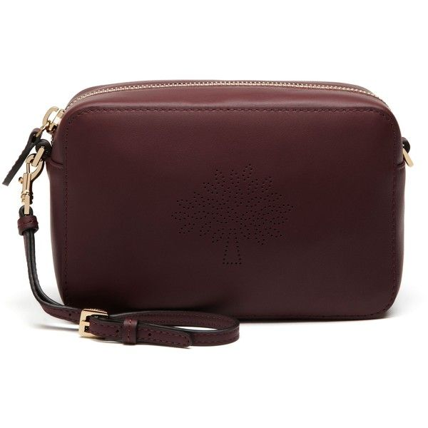 9d40161bc3 Mulberry Blossom Pochette with Strap ($390) ❤ liked on Polyvore featuring  bags, handbags, clutches, oxblood, handbags purses, brown purse, perforated  purse ...