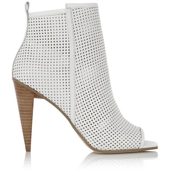 Karen Millen Perforated peep shoe boot ($380) ❤ liked on Polyvore featuring  shoes,