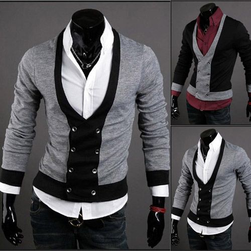 Men's Double Breasted Sweater Mens Button Cashmere Cheap Cardigan ...