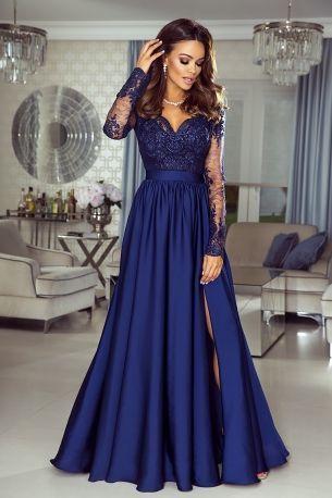 Navy blue prom dresses long sleeve satin lace appliqué deep v neck elegant cheap prom gown vestido de festa de longo