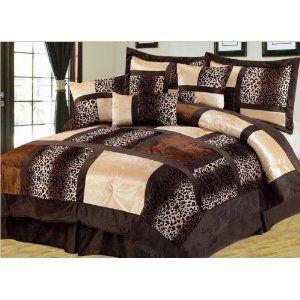 7pcs Queen Leopard Micro Suede Comforter Set Comforter Sets Queen Size Comforter Sets Print Bedding