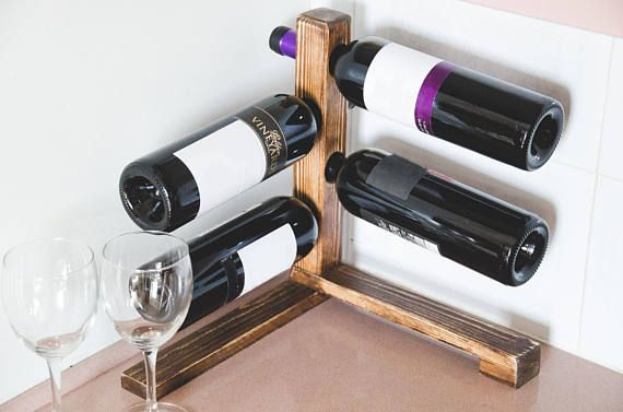 Rustic Wine Rack 4 Bottles Ready To Ship Wine Storage Corner Tabletop Wine Rack Wine Shelf Farmhouse Decor Housewarming Gift With Images Wine Rack Wine Storage Wine Shelves