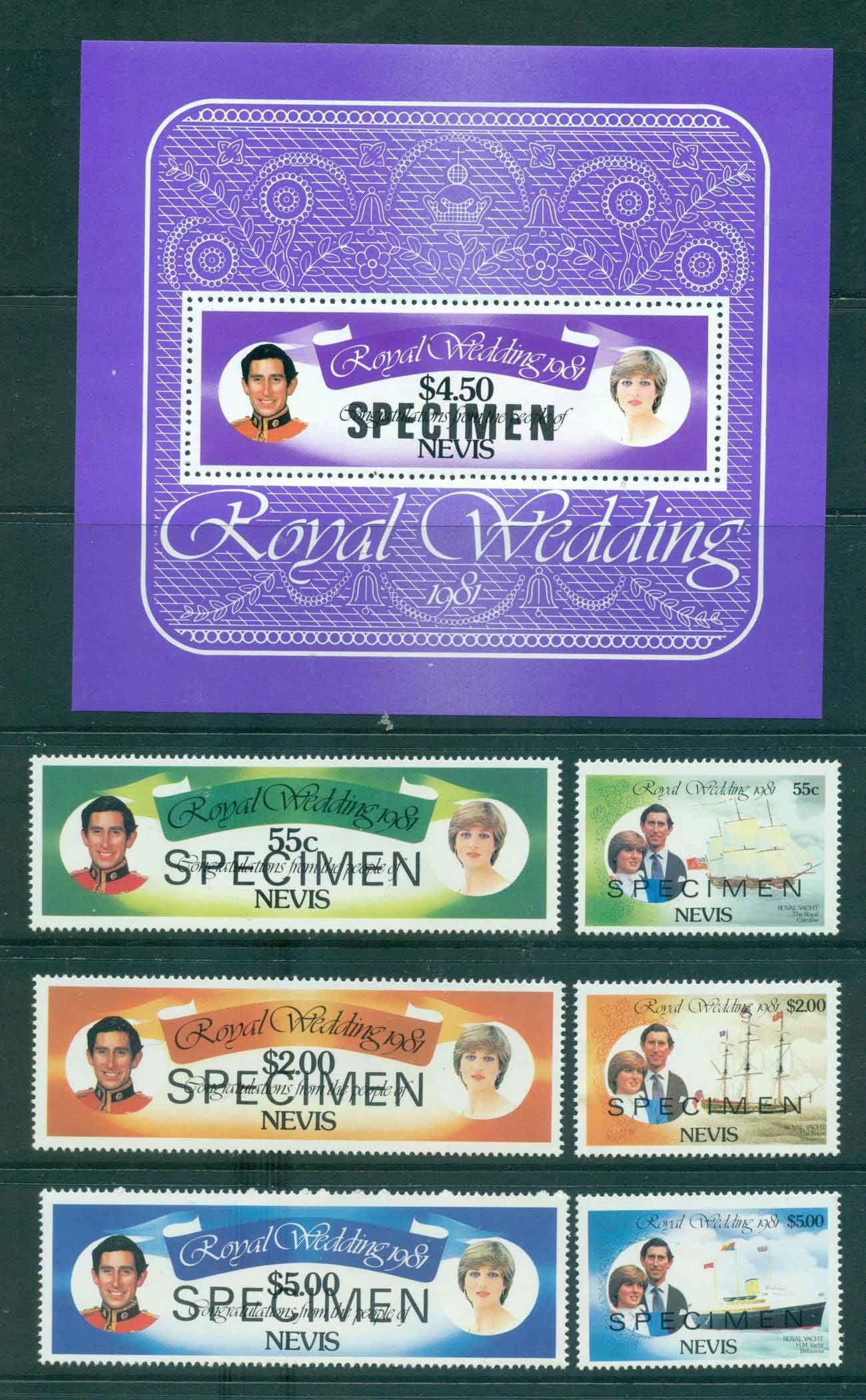 Nevis 1981 Charles & Diana Wedding + MS SPECIMEN MUH