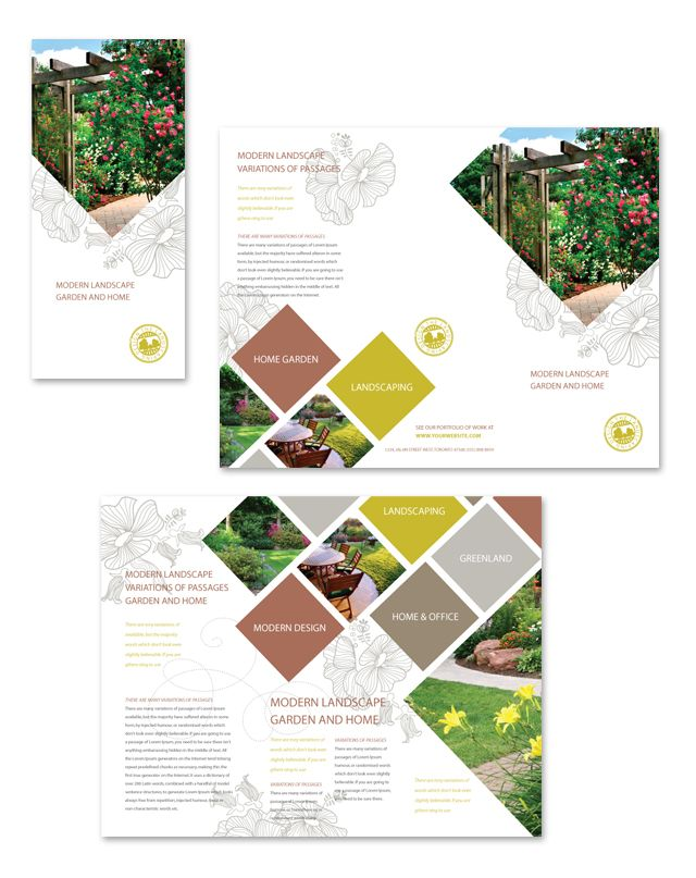 Modern Landscaping Tri Fold Brochure Template http\/\/wwwdlayouts - interior design brochure template