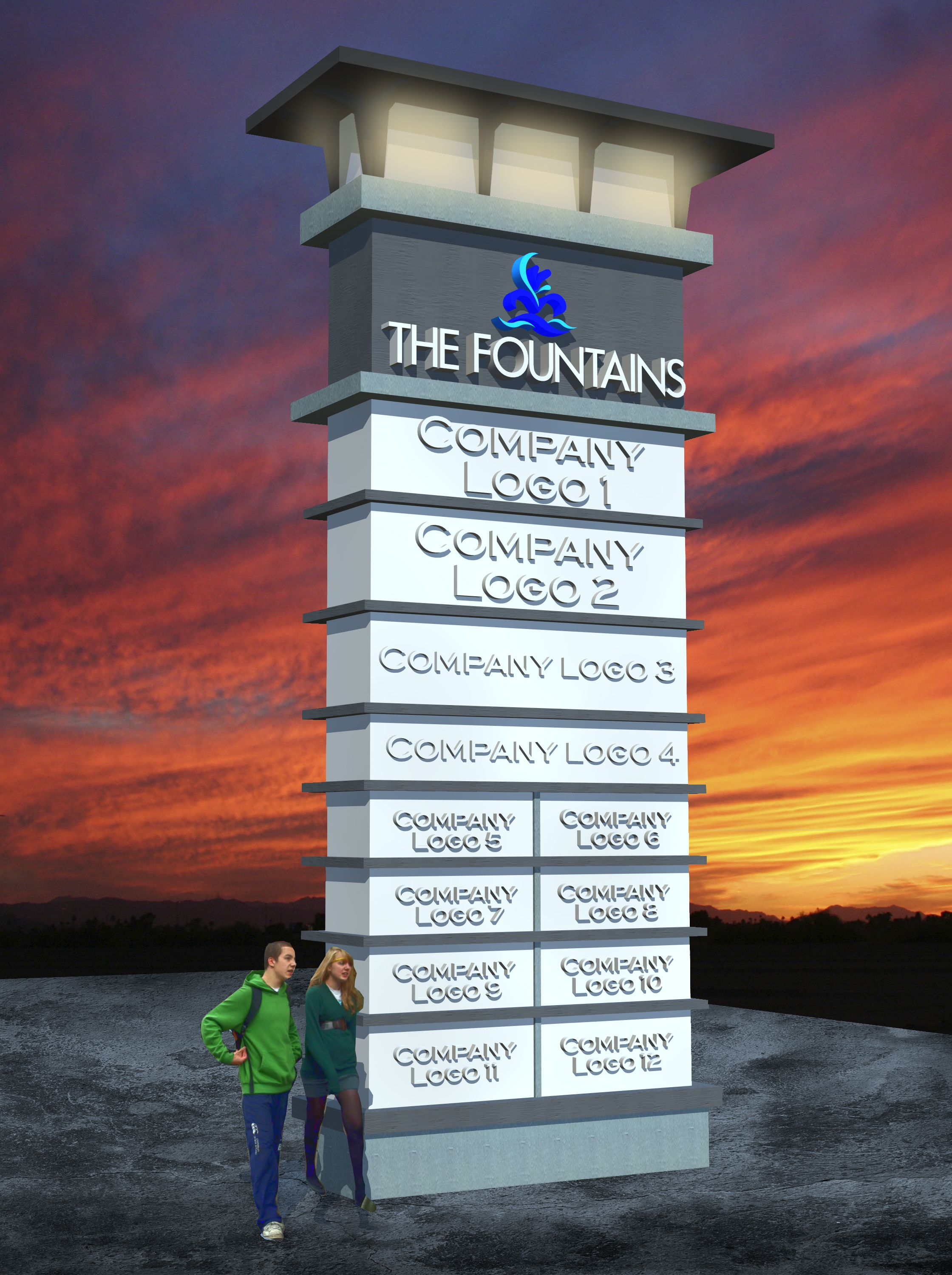 fcca1673a Architectural multi-tenant pylon sign | Signs | Monument signs ...