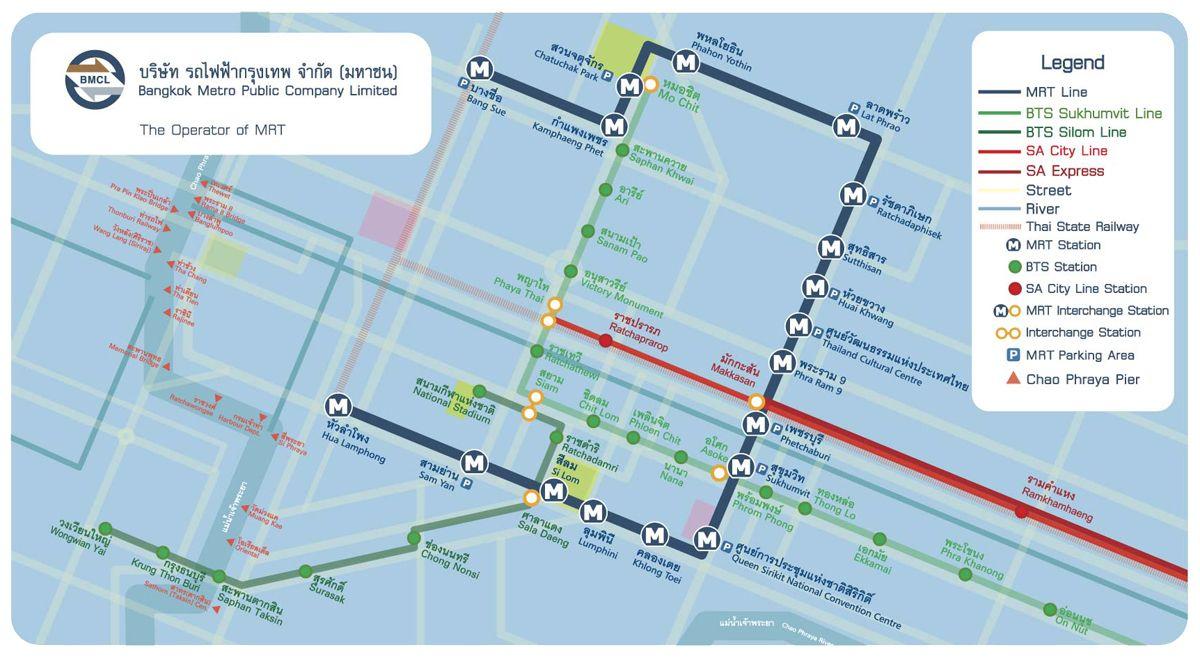 Mrt Route Map Bangkok Mrt Hotels Shopping Malls