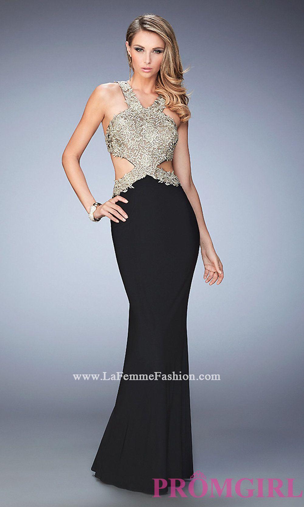 ff87917cb1f Open Back Long V-Neck Jersey Prom Dress by La Femme Style  LF-22325 ...