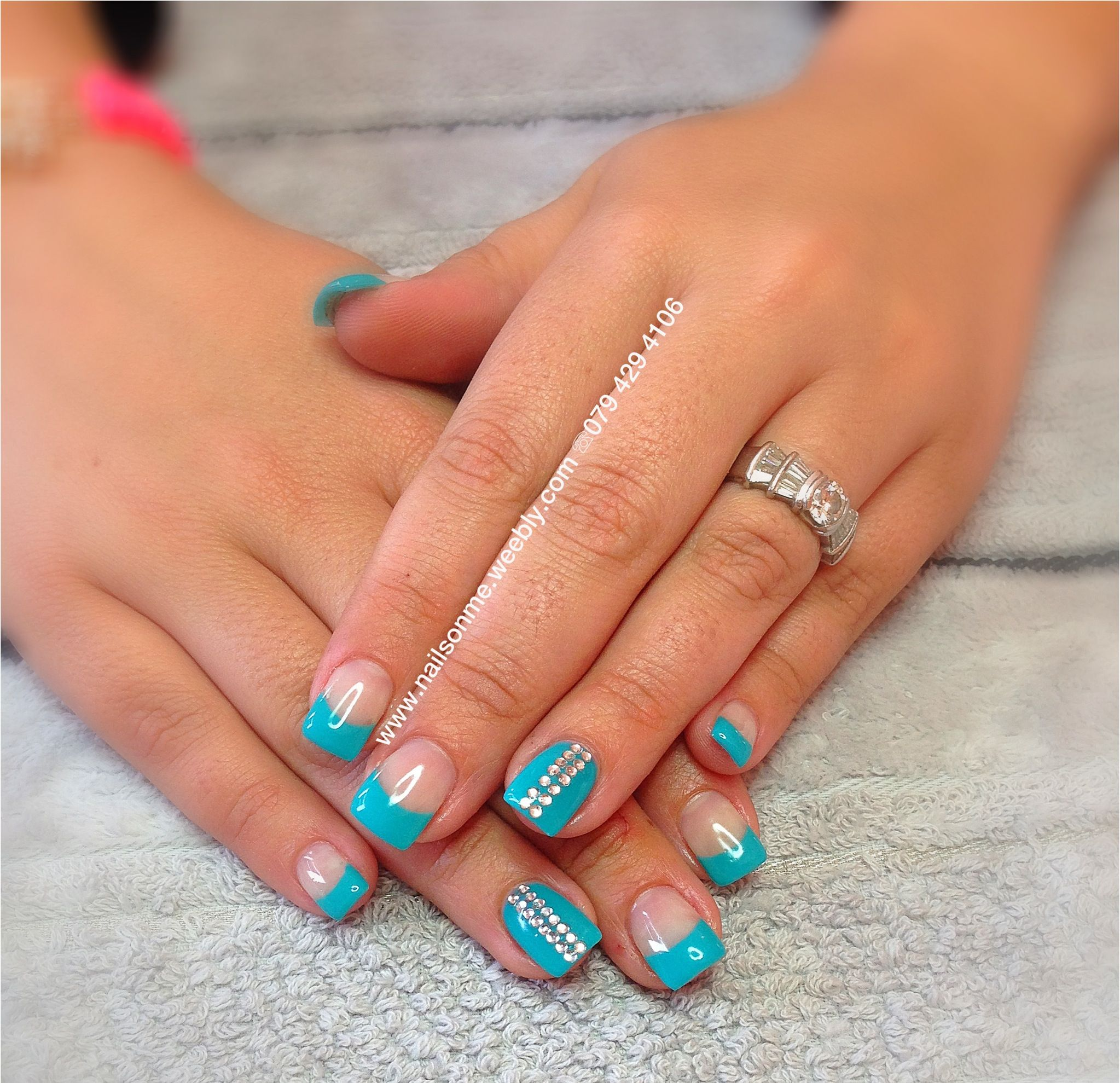 Turquoise french gel nails | Gel and Shellac Nails ...
