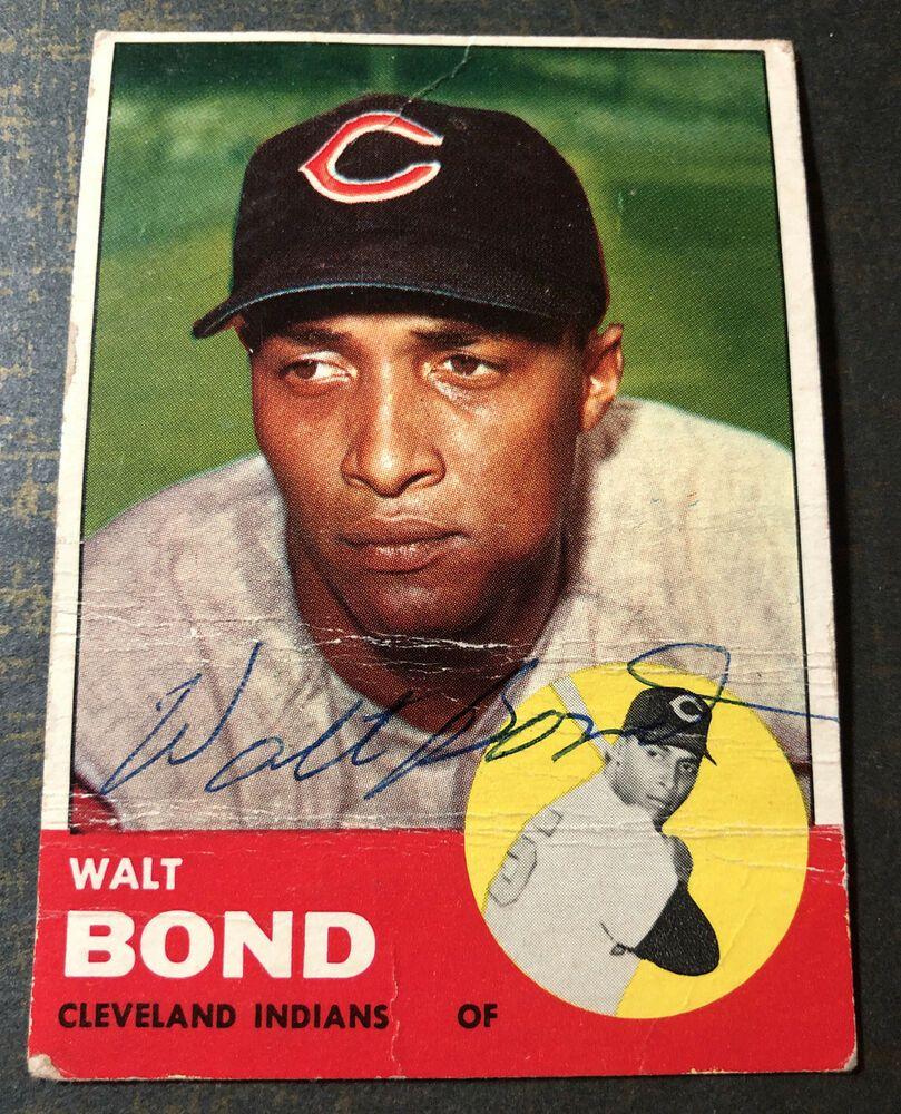 1963 topps baseball card signed walt bond 493 cleveland