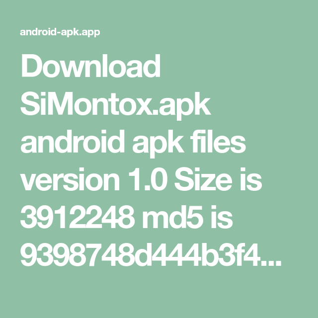 Download SiMontox apk android apk files version 1 0 Size is