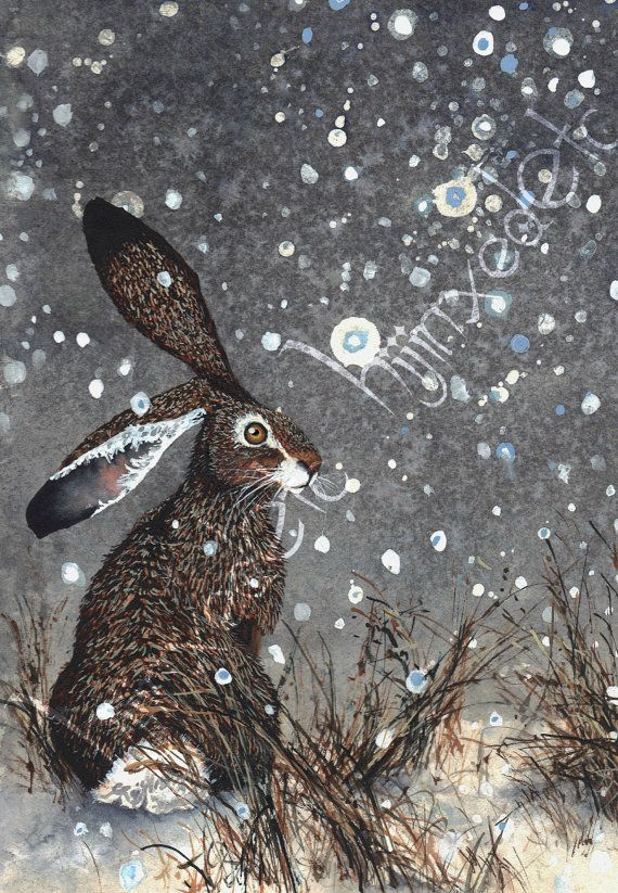 The Quiet is a beautiful greeting card printed by watercolor artist Maggie Vandewalle. Each card comes with an envelope. Features hare, rabbit,