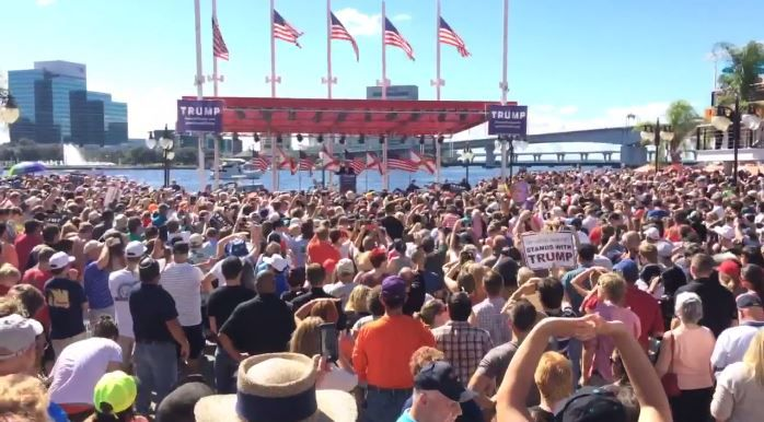 """What a group of people,"" said 2016 presidential candidate Donald Trump as he took the stage at the Jacksonville Landing Saturday for his campaign event."