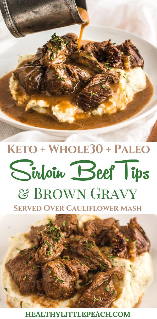 BEEF TIPS & GRAVY OVER CAULIFLOWER MASH images