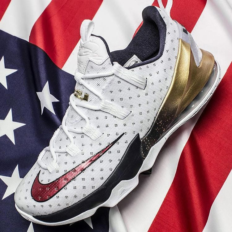 new arrival 4fc54 799d7 NIKE LEBRON 13 LOW USA WHITE RED METALLIC GOLD 831925 164
