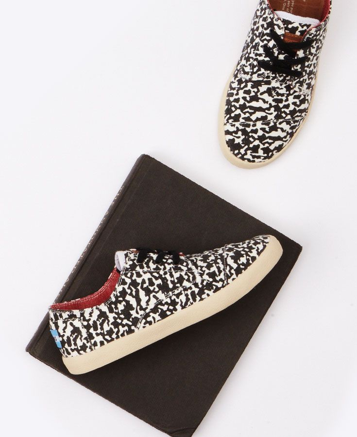 a1b75c2e952b1 Blend in with your composition books this school year with our black    white camo shoes.  TOMS Give Back to School Contest