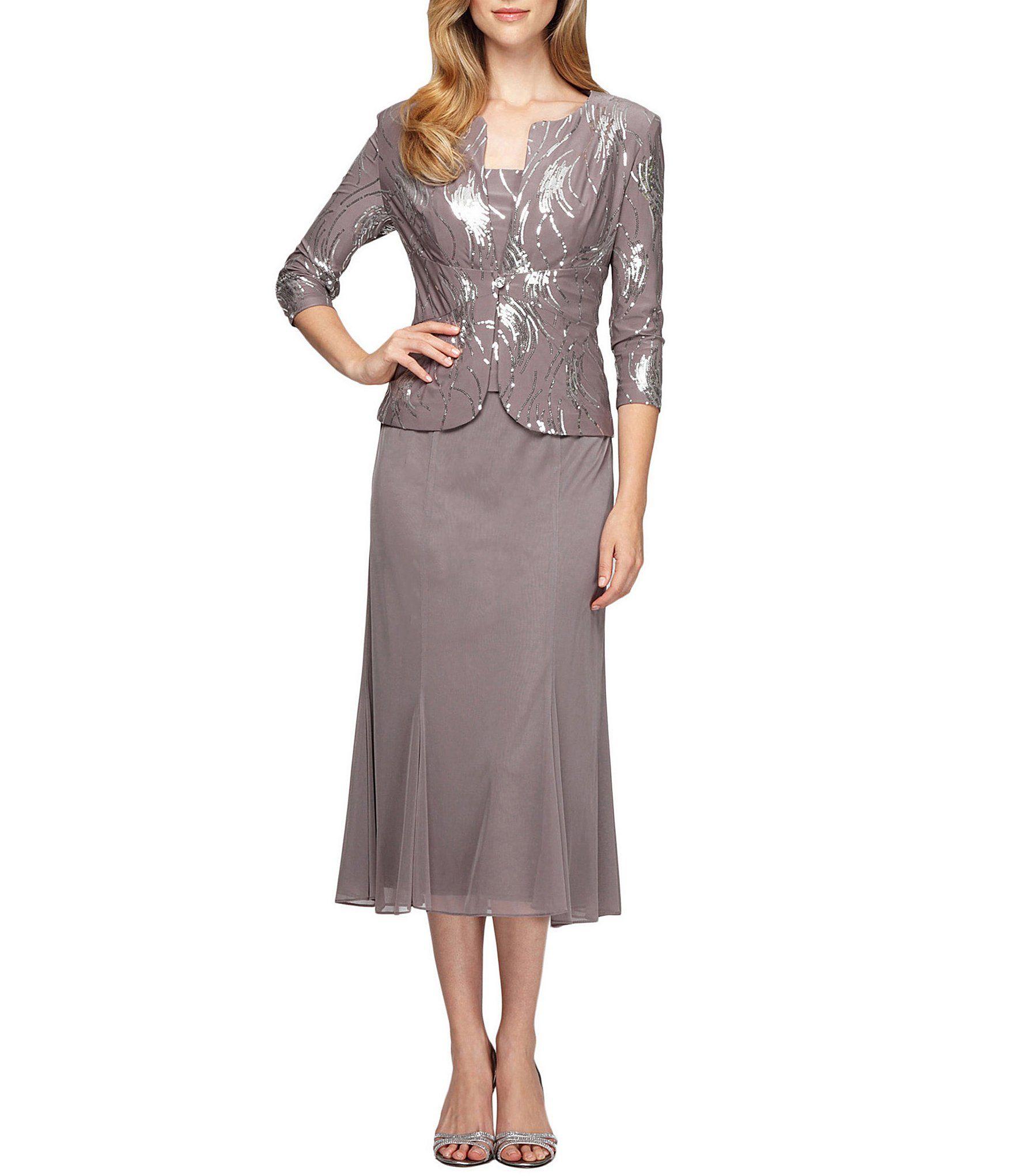 Alex Evenings Petite Sequin Bursts 2 Piece Tea Length Jacket Dress Dillard S Evening Midi Dress Shrug For Dresses Midi Dress Sleeveless [ 2040 x 1760 Pixel ]