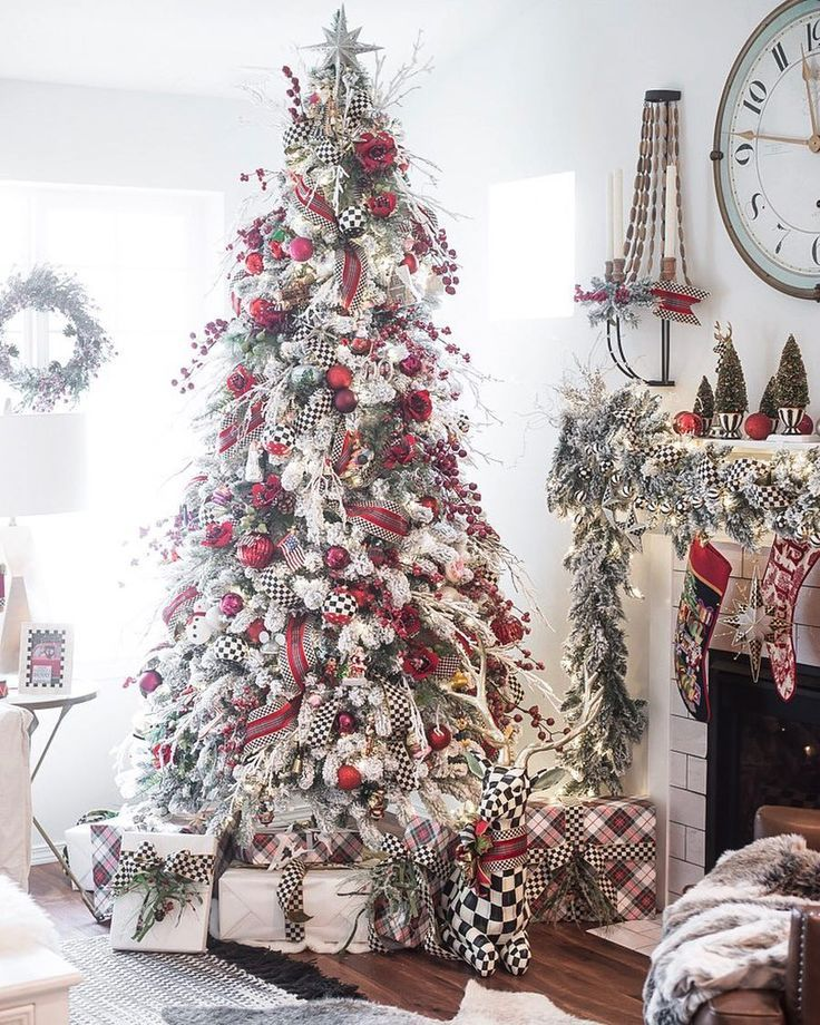 Red & White Christmas Tree, Flocked Christmas Tree