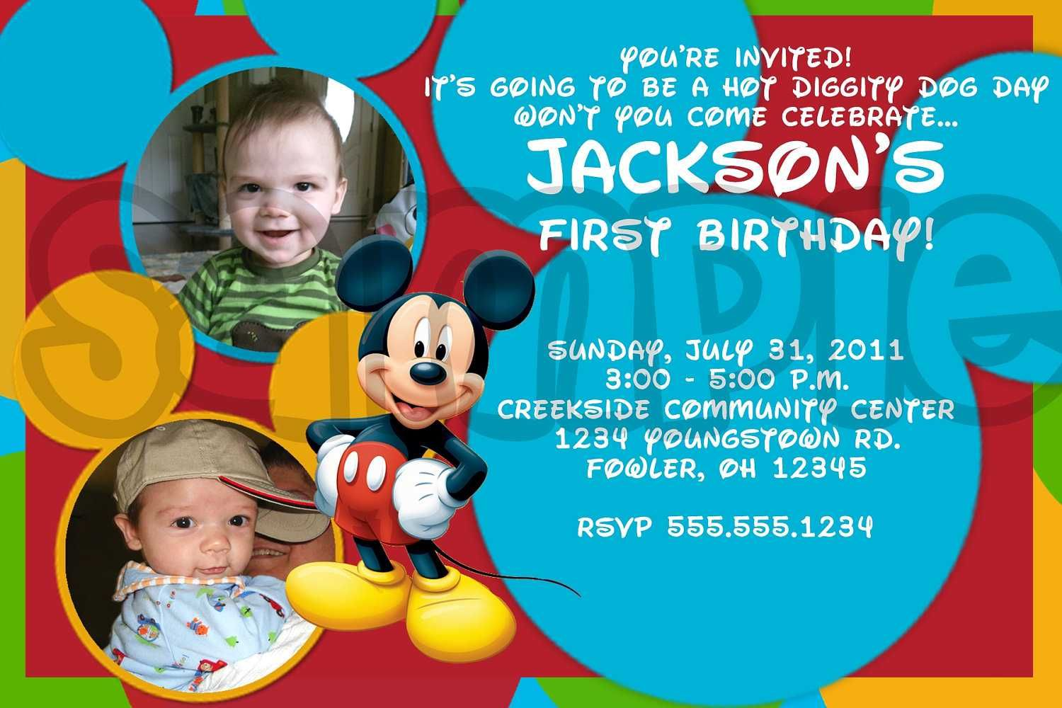 Download Mickey Mouse Birthday Invitations Ideas FREE Printable
